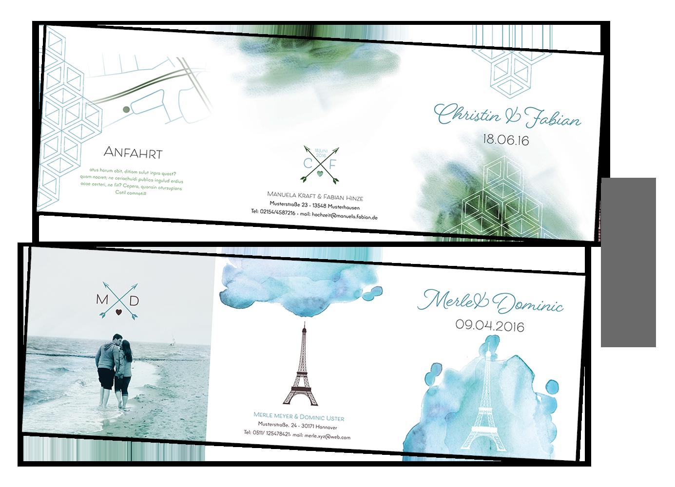 Hochzeitseinladung individuallisiertes Design angepasst