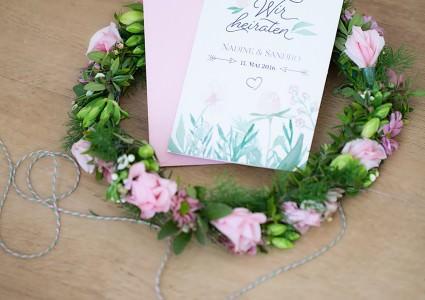 Hochzeitseinladung einladung Hochzeit hannover papeterie leibelt melina HERZ-Blatt Design aquarell rosa grün zart