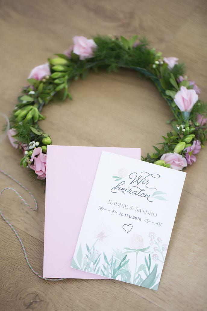 pastell fruehling liebe maihochzeit grün blueten natur blumenmädchen floral Aquarell hochzeitspapeterie hannover individuell