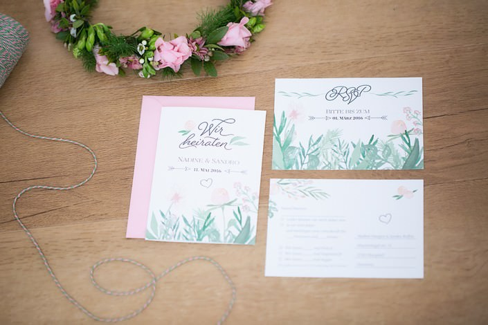 Antwortkarte papeterie hochzeit RSVP rosa grün aquarell frühling zart romantisch hannover