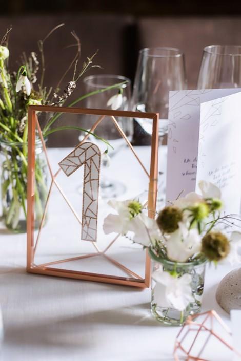 Tischnummer Kupfer Roségold geometrisch Hochzeit