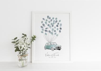 Mini cooper fingerabdruck Poster gästebuch