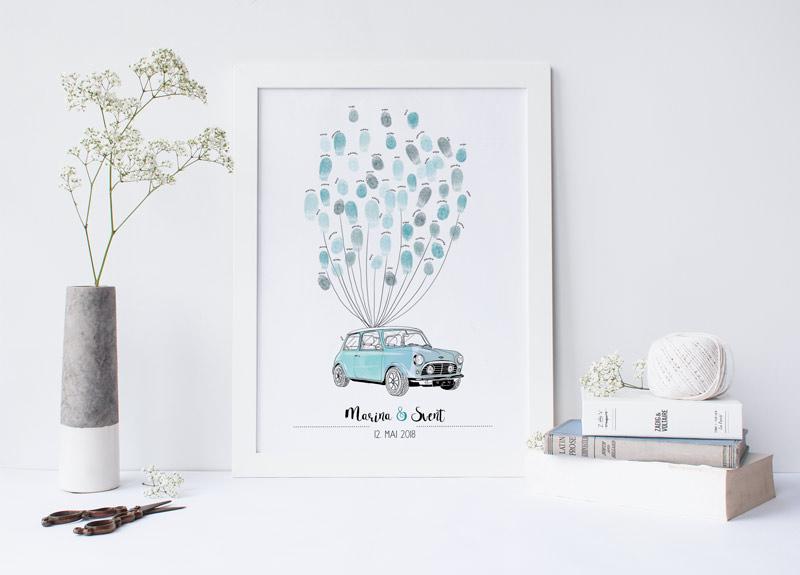 weddingtree mini cooper für fingerabdrücke gästebuch