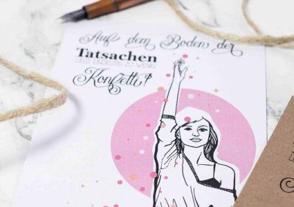 Postkarte boden der Tatsachen konfetti mit Illustration von Melina Leibelt