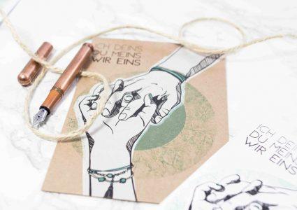 Postkarte ich deins du meins wir eins mit Illustration von Melina Leibelt