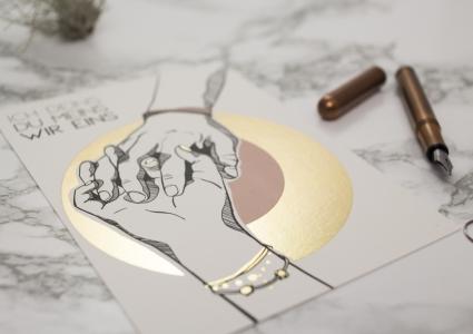 Hände Liebespaar Innustration Goldfolie