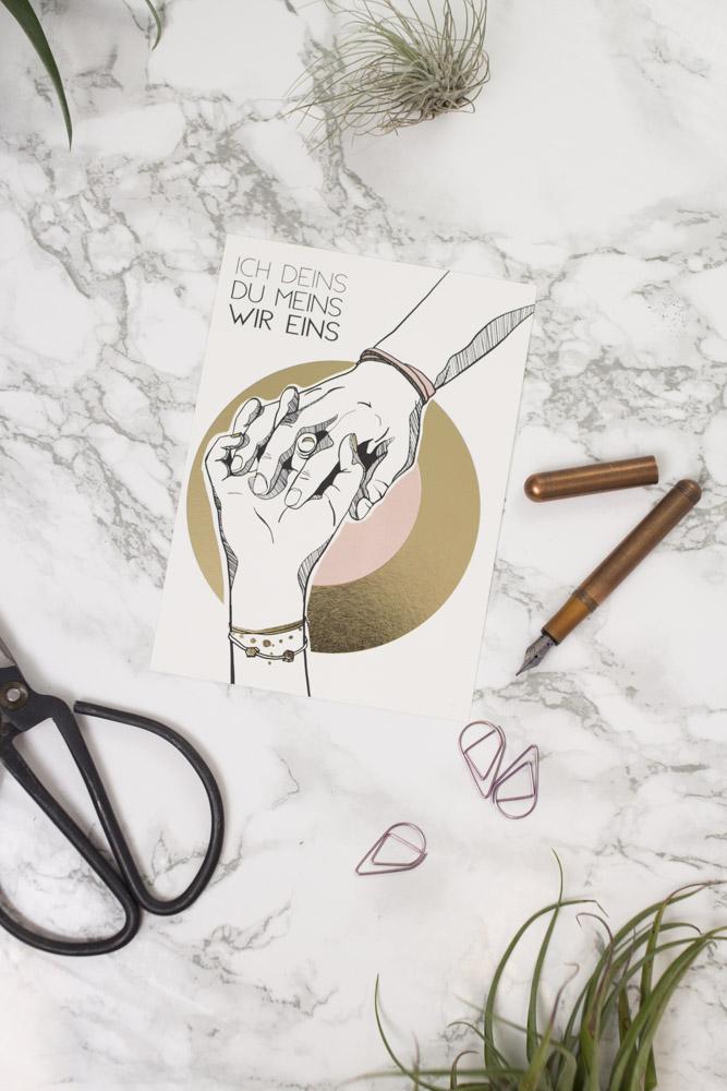 Postkarte Liebespaar Goldfolierung