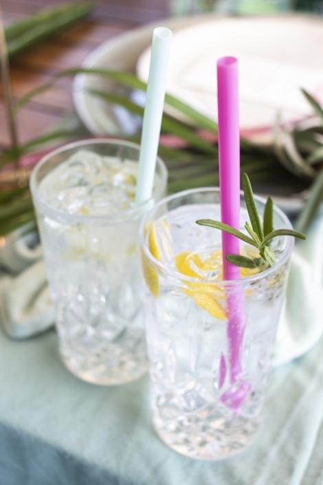 Gin gläser mit Strohhalm