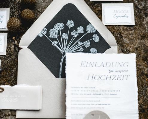 Hochzeitseinladung Bütten