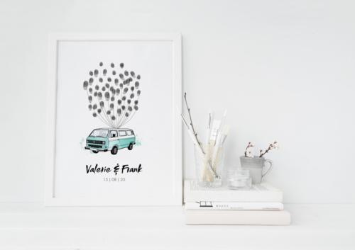 Bulli T3 VW illustration Hochzeit