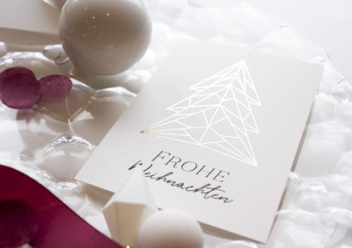 Weihnachtskarte Tannenbaum Gold