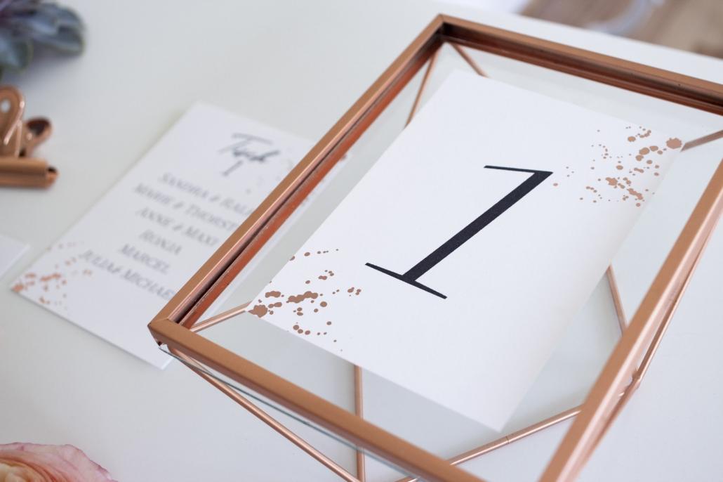 Tischnummer im Rahmen