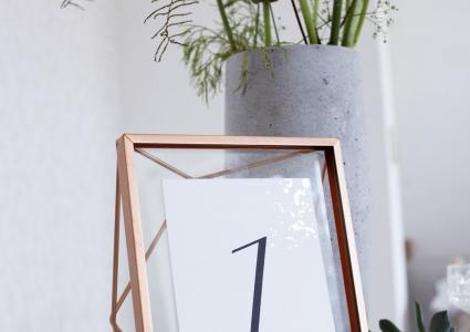 Tischnummer puristisch rosegold