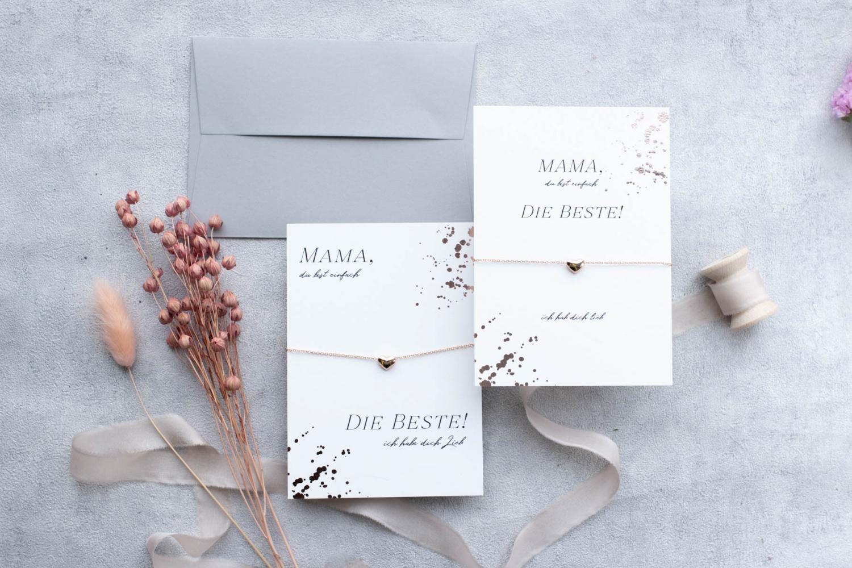 Muttertagsgeschenk Grußkarte mit Armband herz rosegold