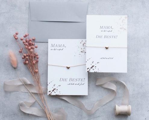 Muttertagsgeschenk Karte mit Armband herz rosegold