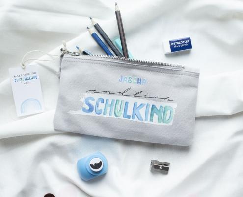 Federmappe EINSCHULUNG mit Name individualisiert aquarell blau schulkind