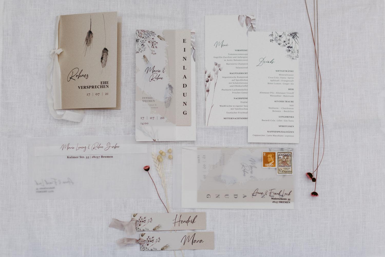 Hochzeitseinladungs Set Trockenblumwn