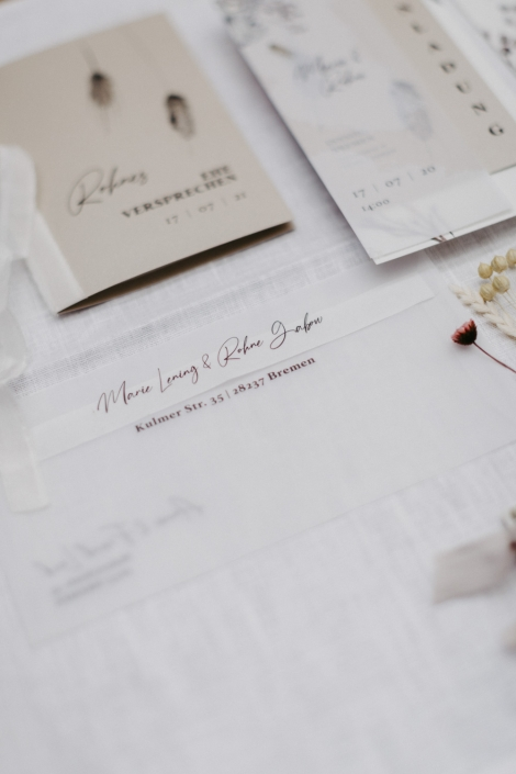 Hochzeitseinladungs Set transparent Trockenblumwn