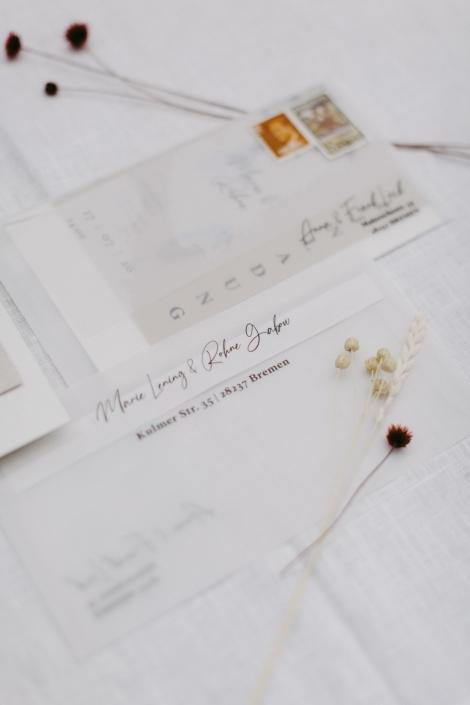 Hochzeitseinladungs Set transparent