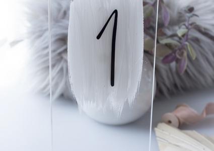 Tischnummer Acryl Transparent mit Ständer